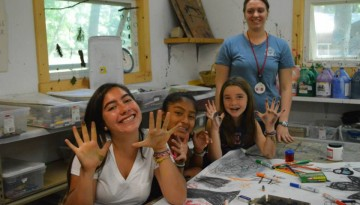Campers crafting at WeHaKee Camp for Girls