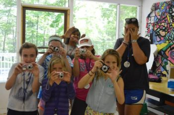 Campers having fun with photography.