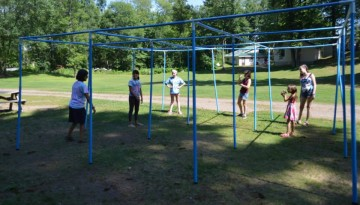 Campers in jungle gym