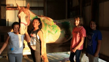 Campers with horse at WeHaKee Camp for Girls
