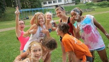 Shaving cream fight at WeHaKee Camp for Girls
