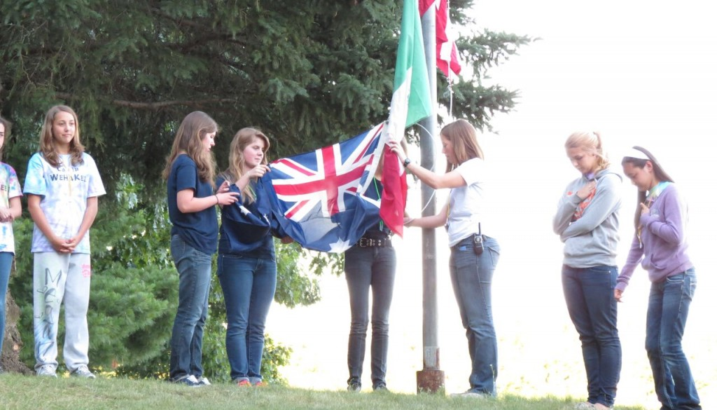 Campers putting flags up