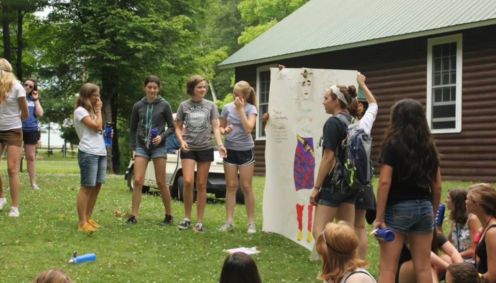Campers showing off a project
