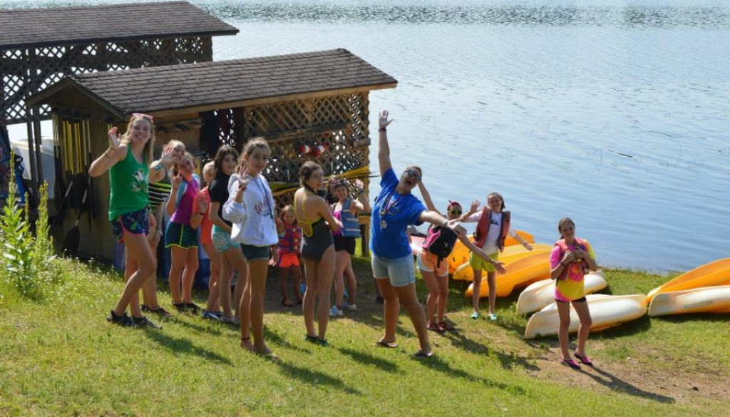 Campers by Hunter Lake at WeHaKee Camp for Girls