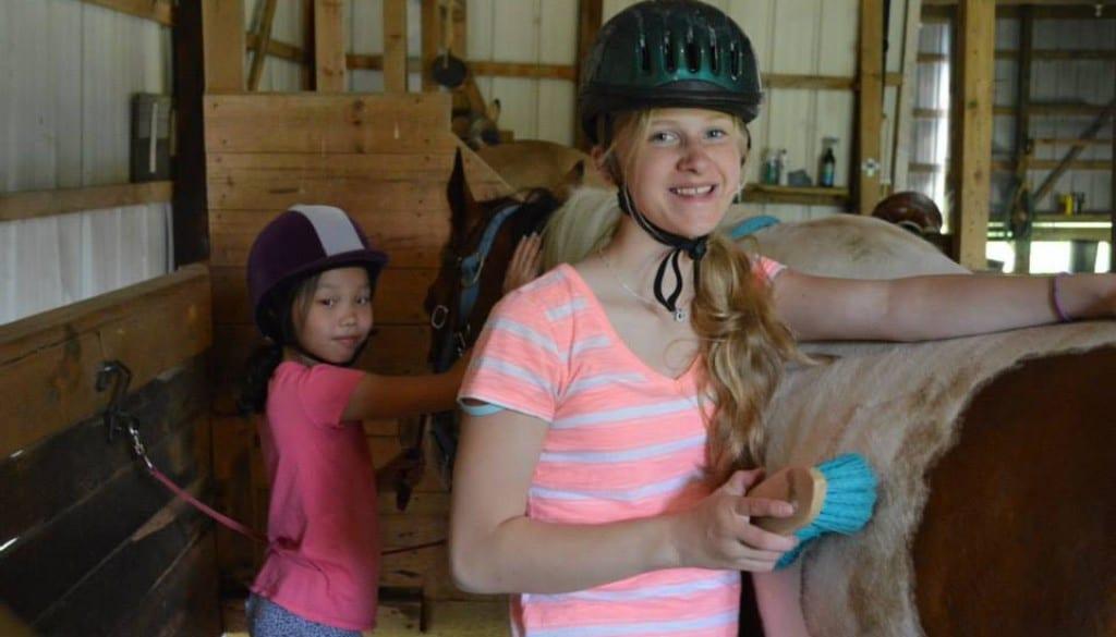 wehakee girls taking care of horses