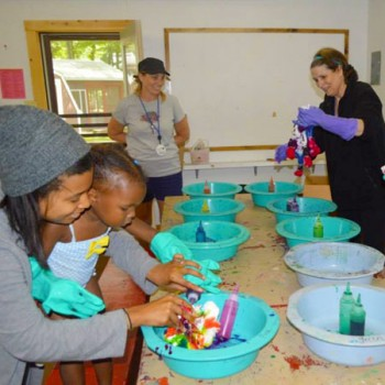 Making crafts at WeHaKee Mother Daughter Camp