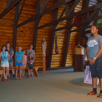 Campers in the chapel at WeHaKee Camp for Girls