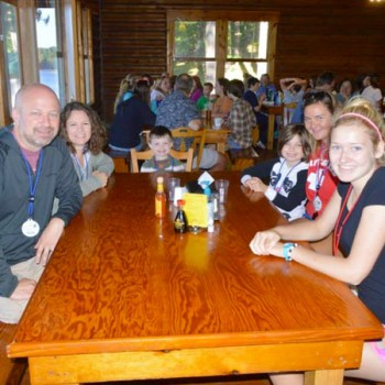 Family Camp dinner with parents