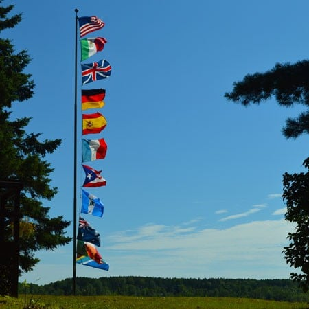 Flags in the wind at camp