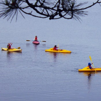 Kayaking class on Hunter Lake at WeHaKee Camp for Girls