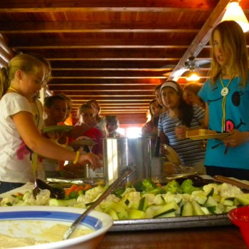 Campers having lunch at WeHaKee Camp for Girls