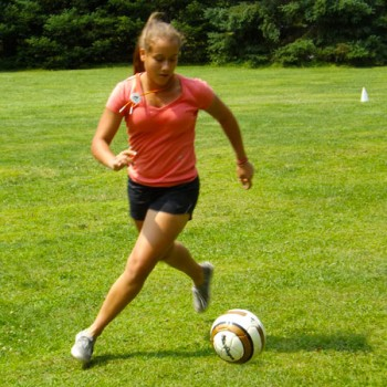 camper playing soccer
