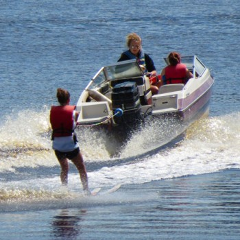 Waterskiing on Hunter Lake at WeHaKee Camp for Girls