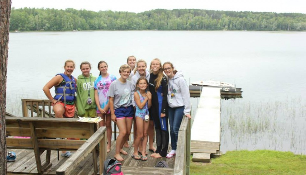 WeHaKee campers and staff on dock