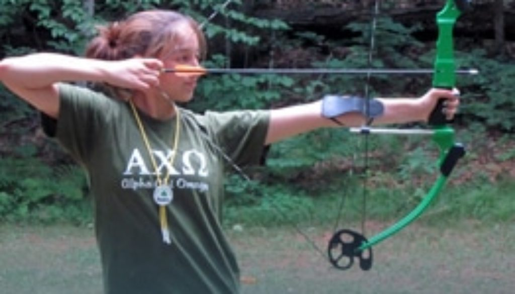 Archery activity at WeHaKee Camp for Girls.