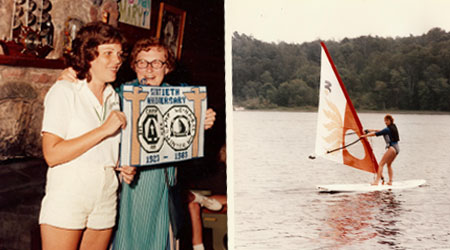WeHaKee Camp for Girls 60th anniversary photo, and a photo of a camper windsurfing on Hunter Lake