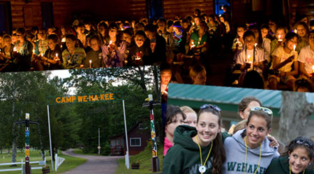 Photo collage of campers at WeHaKee Camp for Girls