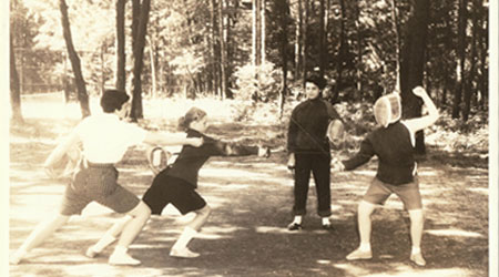 Fencing practice at WeHaKee Camp for Girls