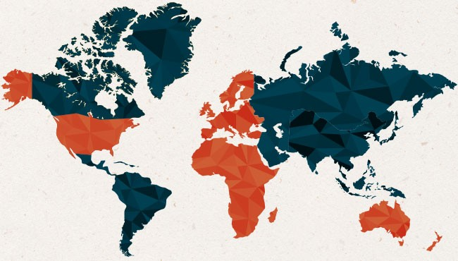 World map of the international staff at WeHaKee Camp for Girls
