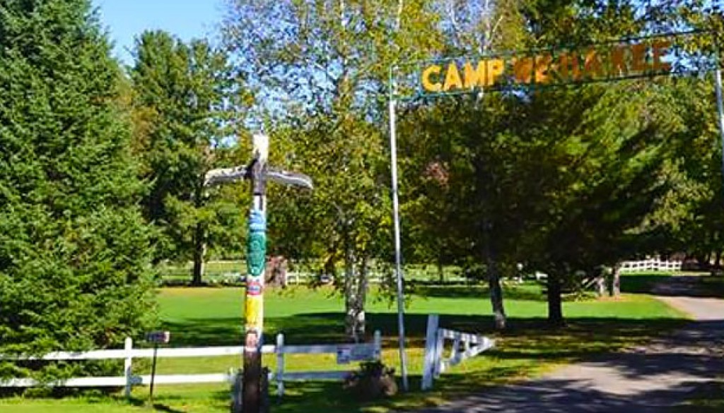 The entrance to Wehakee Camp for Girls on Hunter Lake