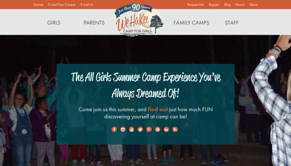 WeHaKee Camp for Girls Website front page.
