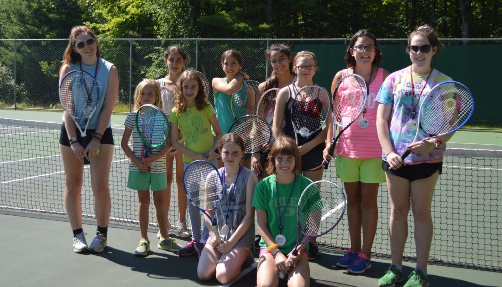 Camper tennis players at WeHaKee Camp for Girls.
