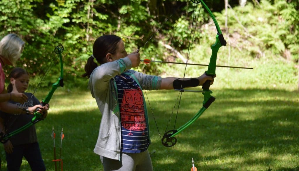 Archery practice at WeHaKee Camp for Girls.