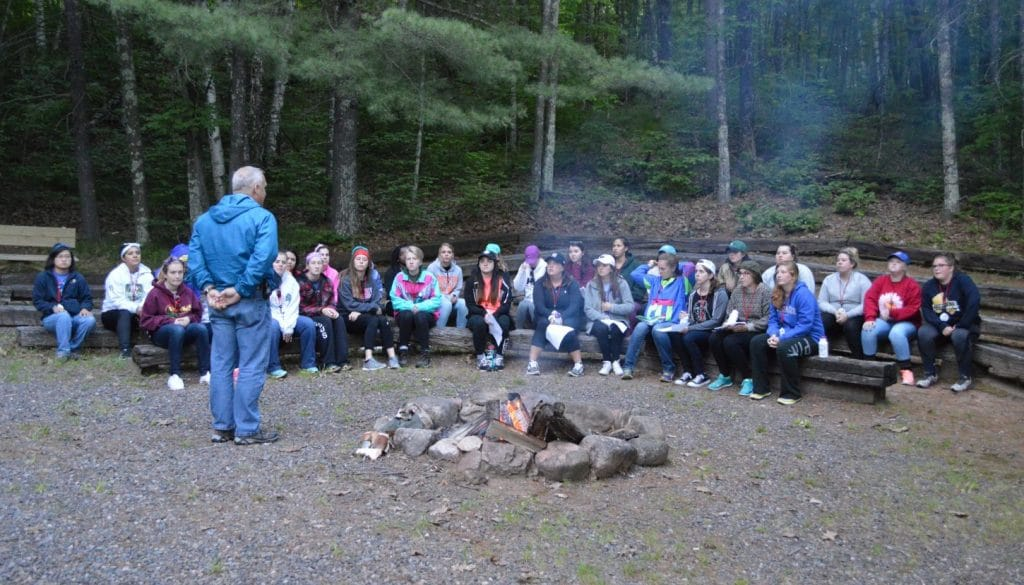 Staff training campfire at WeHaKee Camp for Girls.