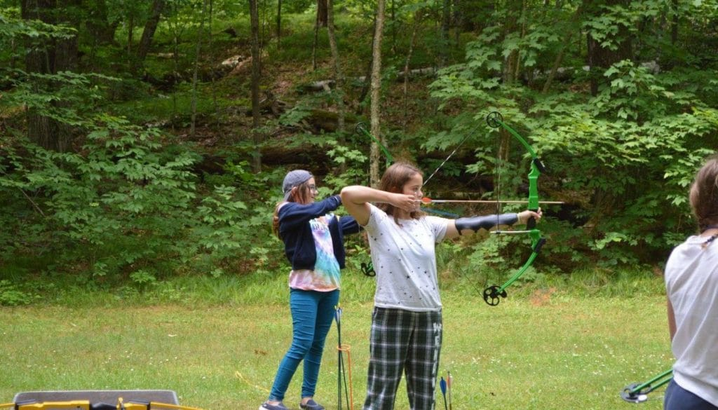 Campers practicing their archery skills at WeHaKee Camp for Girls.