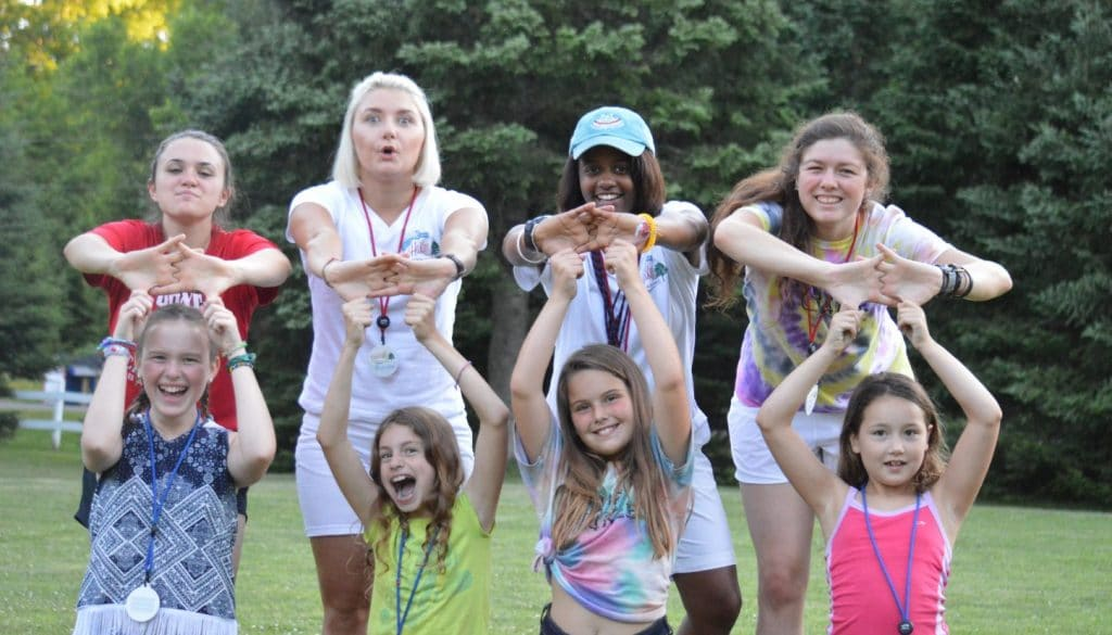 Staff and campers being silly at WeHaKee Camp for Girls.