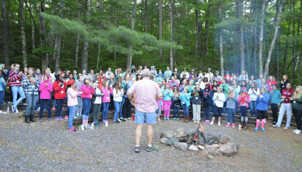 2016 group campfire at WeHaKee Camp for Girls.