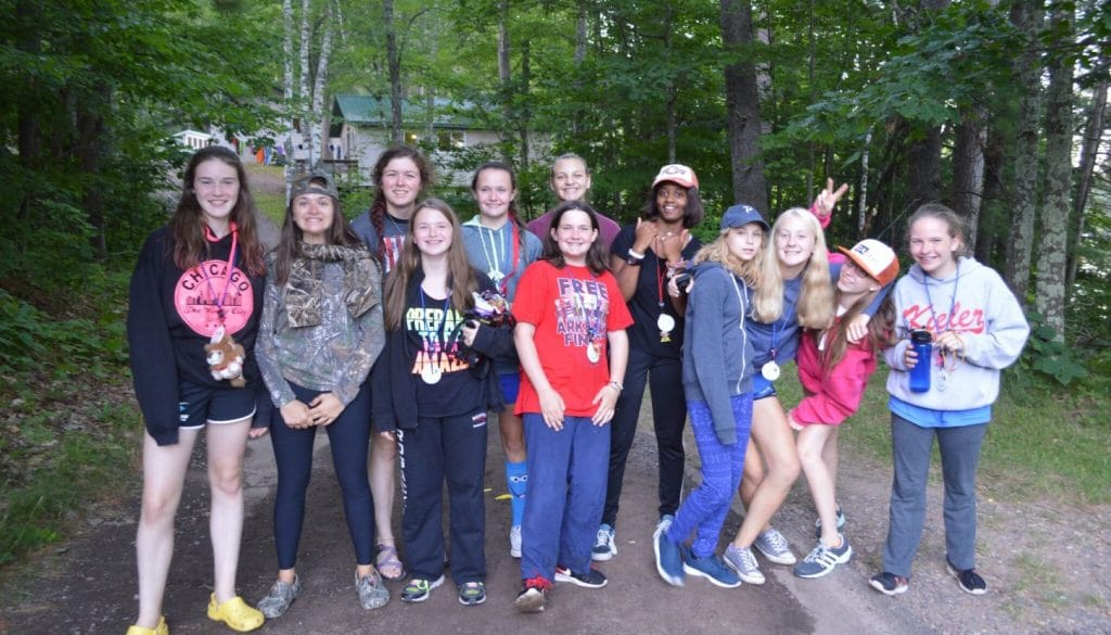 Campers getting ready to hike down the Chickagami trail at WeHaKee Camp for Girls.