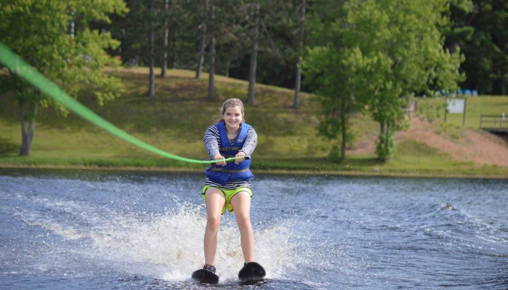 2016 Camper water skiing on Hunter Lake at WeHaKee Camp for Girls.