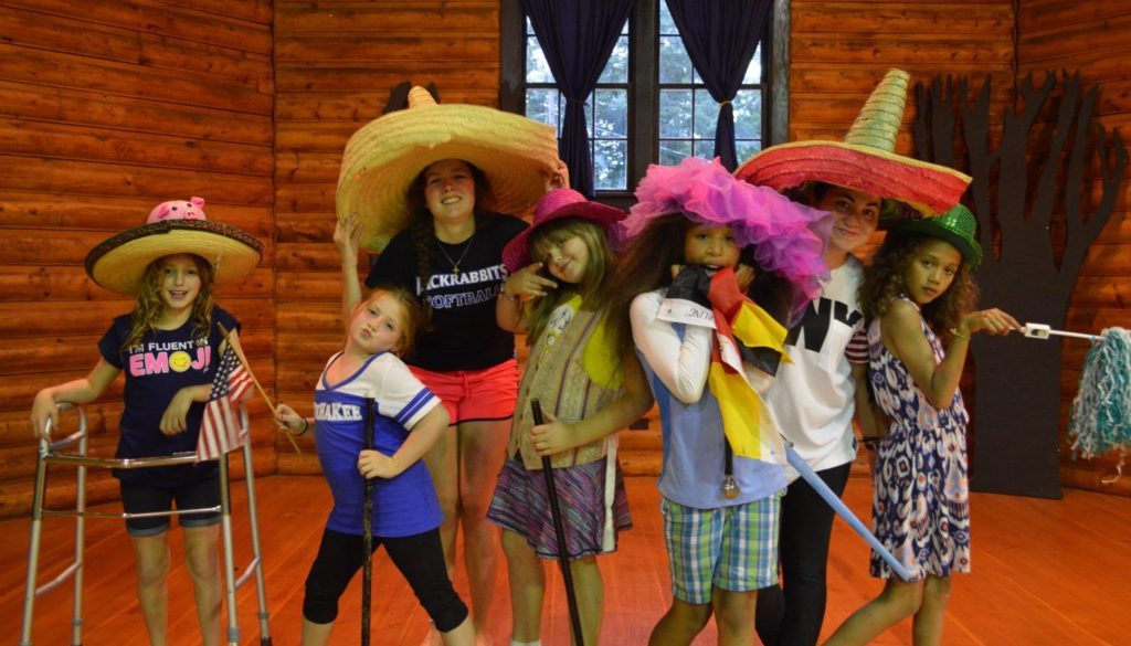 Campers dressed up in the cabin at WeHaKee Camp for Girls.