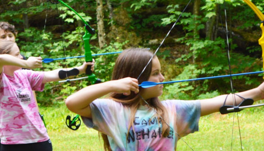 2017 campers learning archery at WeHaKee Camp for Girls.