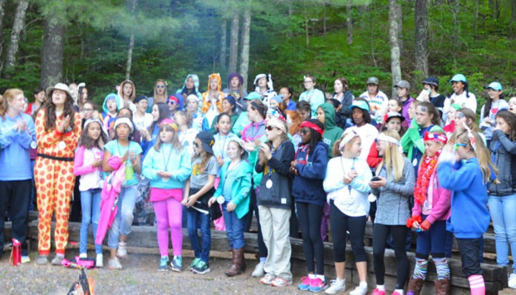 2017 Welcome fire for campers a WeHaKee Camp for Girls.