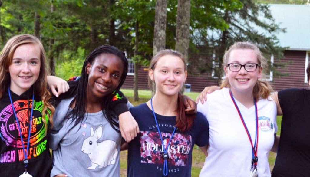 2017 Campers friends outside at WeHaKee Camp for Girls.