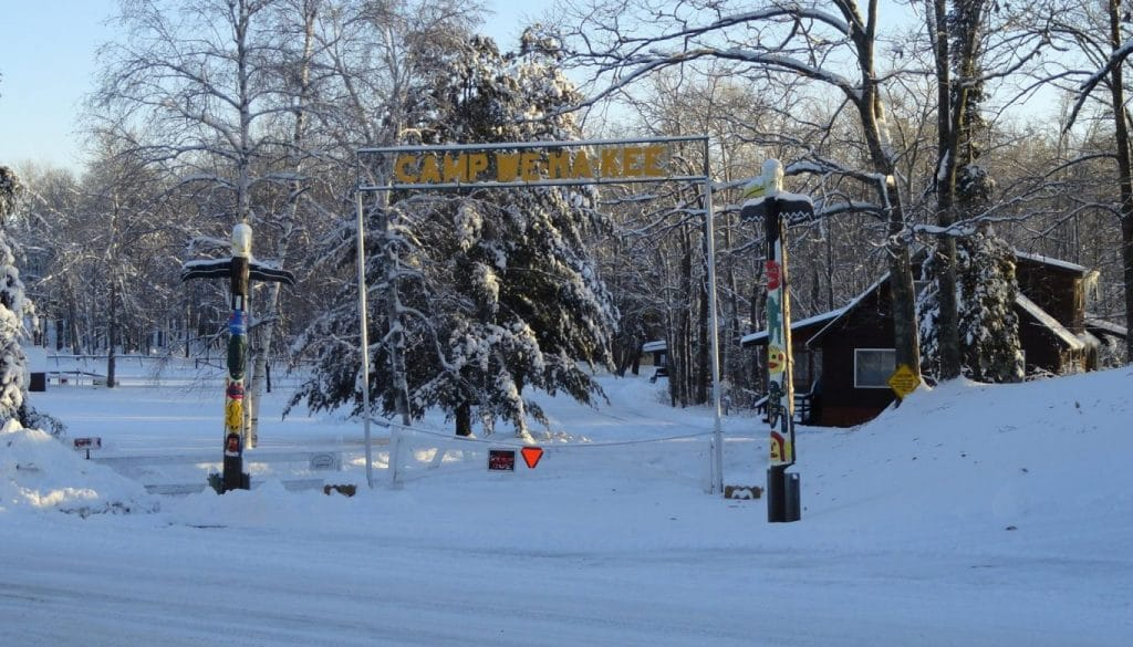 WeHaKee Camp for Girls Entrance during the winter.