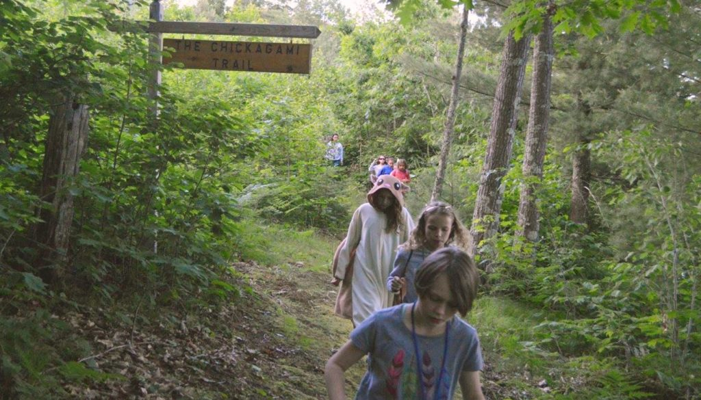 WeHaKee Camp for Girls campers walking the Chickagami Trail.