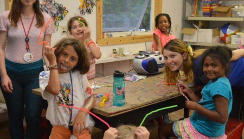 WeHaKee Camp for Girls staff and campers being crafty.