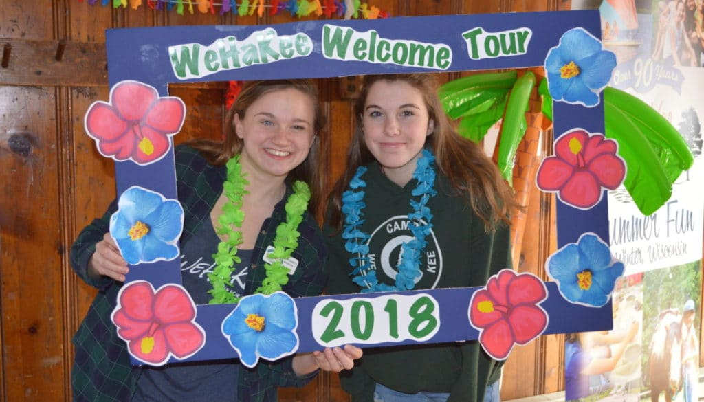 WeHaKee Camp for Girls 2018 Welcome Tour signage.