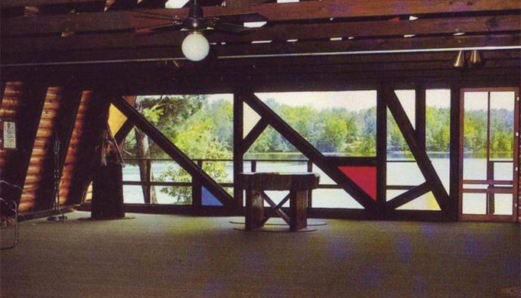 WeHaKee Camp for Girls chapel on the inside looking at towards Hunter lake.