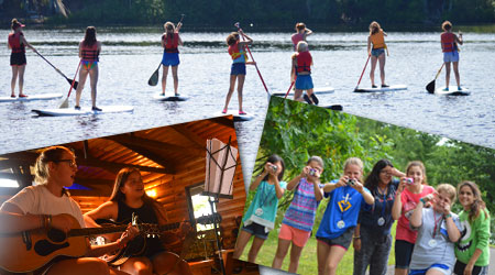 Photo collage of campers at Girls Camp at WeHaKee Camp for Girls