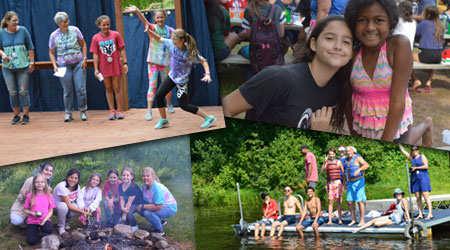Photo collage of campers at Girls Camp and Family Camp at WeHaKee Camp for Girls