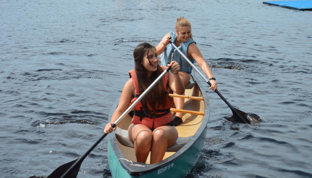 Two Girls Canoeing