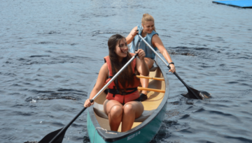 Two Girls Canoeing