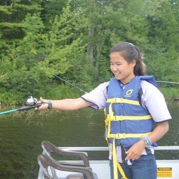 Fishing on Hunter Lake at WeHaKee Camp for Girls
