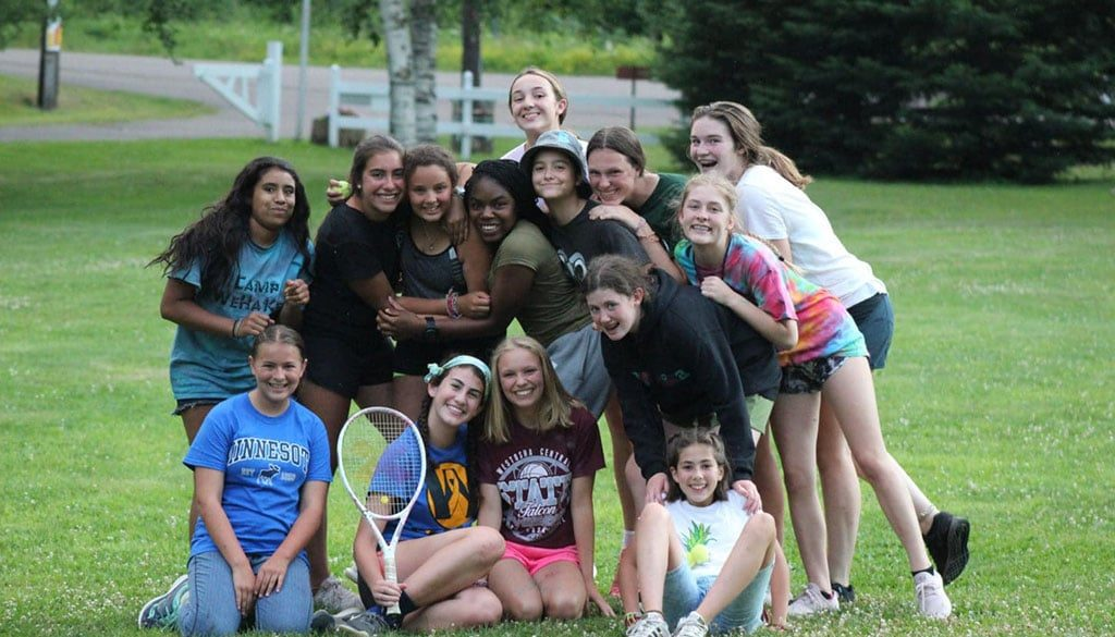 WeHaKee Camp for Girls tennis group.