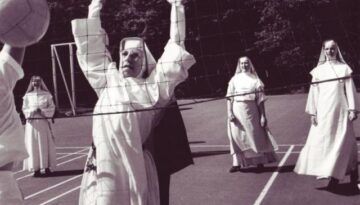 Nuns playing volleyball throughout the years.