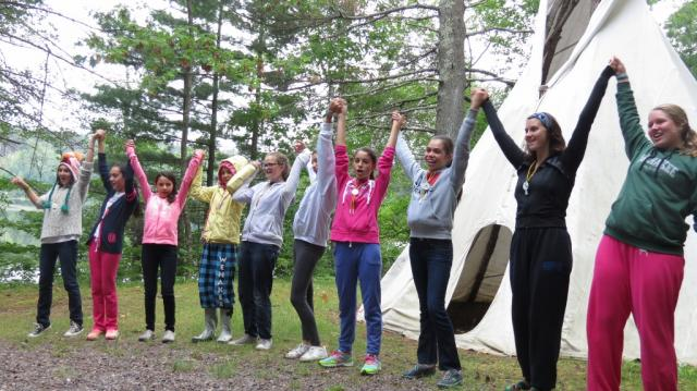 Happy WeHaKee campers at the teepee